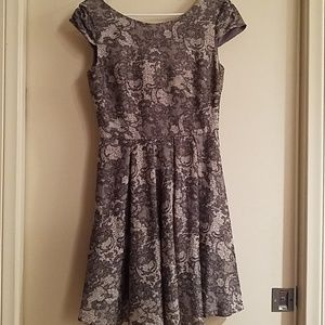 Betsey Johnson Gray and White Floral Dress